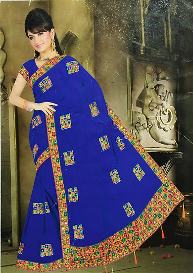 ROYAL BLUE FINE CHIFFON GUJRATI DESIGN WITH MIRROR WORK SAREE