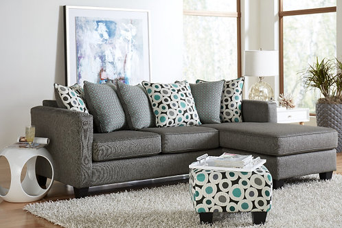 7810 REVERSABLE SOFA WITH CHAISE IN BOOYAH SILVER