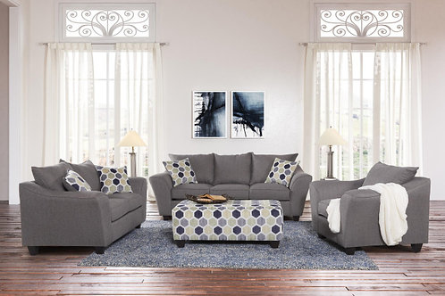 1075 FLAIRED ARM SOFA AND LOVESEAT IN HERITAGE GRAY