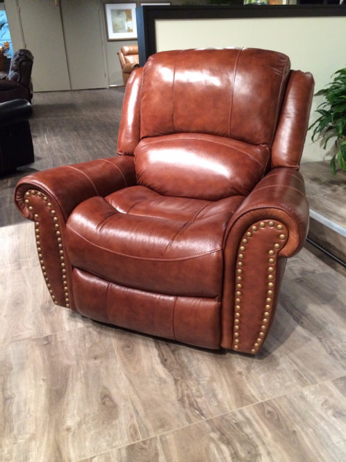 9888 Leather Nailhead Glider Recliner