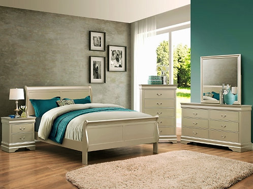 3450 SLEIGH BED CHAMPAGNE QUEEN