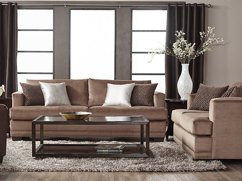 13325 Empire II Toffee Sofa and Loveseat