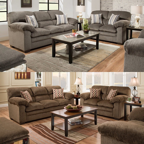 3683 Sofa and Loveseat Harlow Ash or Chestnut