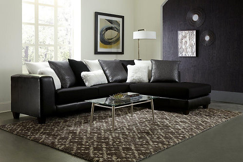 3025 2 PIECE SECTIONAL IN SM EBONY JITTERBUG BLACK AND SILVER