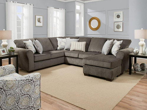 1657 SECTIONAL IN HARLOW ASH OR BOSTON LINEN WITH REVERSIBLE CHAISE