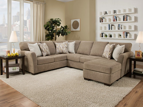 7058 Sectional with Reversible Chaise Mocha or Steel Blue