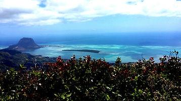 """Aussicht vom Black River Peak auf die """"Ile au Bénitier"""""""