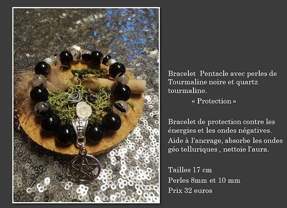 Bracelet protection tourmaline et quartz tourmaline