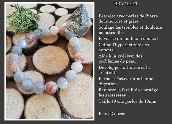 Bracelet Pierre de lune rose/gris