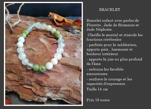 Bracelet avec fluorite jade de Birmanie et jade néphrite