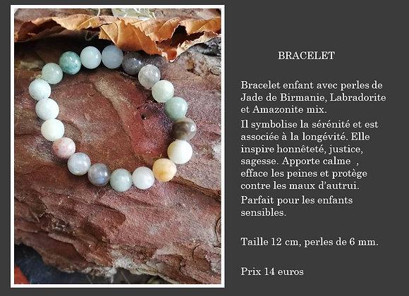 Bracelet jade de Birmanie, amazonite mix et labradorite