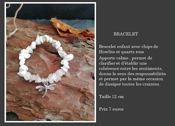 Bracelet Howlite et quartz rose