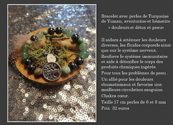 bracelet turquoise , hématite et aventurine