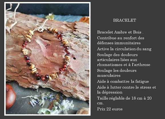 Bracelet Ambre et Bois