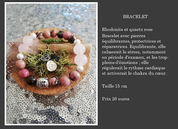 Bracelet rhodonite et quartz rose
