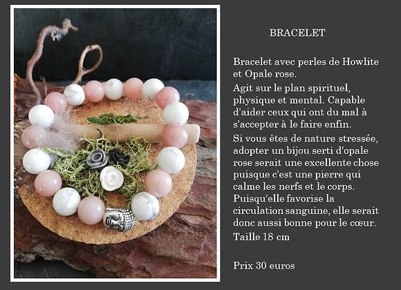 Bracelet Opale rose et Howlite