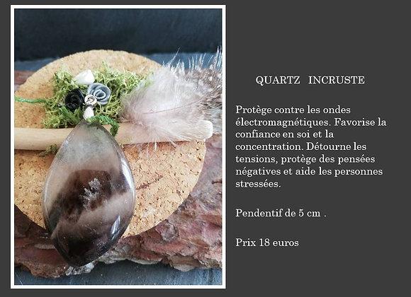 Pendentif quartz incrusté