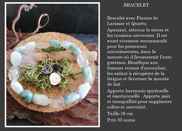 Bracelet Larimar et quartz