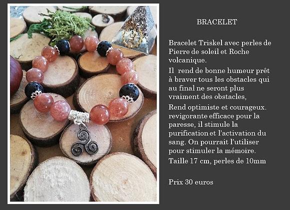 Bracelet Triskel Pierre de soleil et roche volcanique