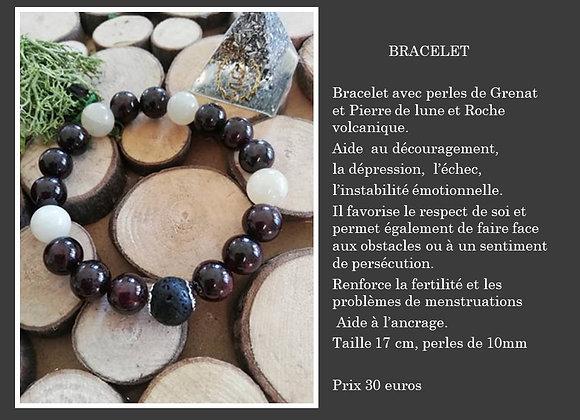 Bracelet Grenat , Pierre de lune et Roche volcanique