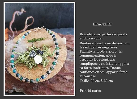 Bracelet Chrysocolle et quartz