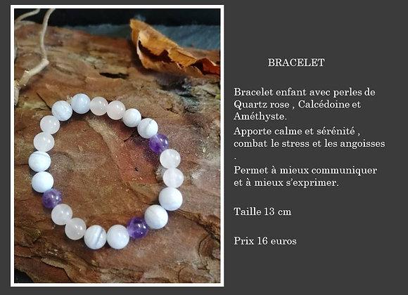 Bracelet Quartz rose, calcédoine et améthyste