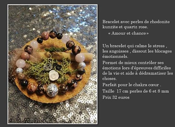 Bracelet rhodonite , kunzite et quartz rose
