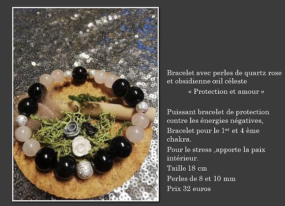 Bracelet quartz rose et oeil céleste