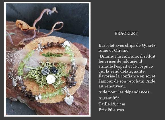 Bracelet Olivine et Quartz fumé