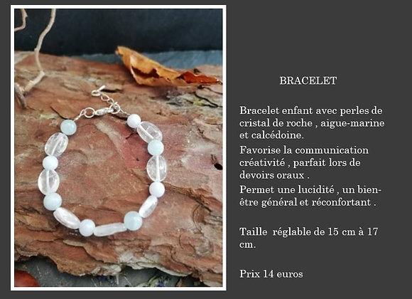 Bracelet cristal de roche, aigue-marine et calcédoine