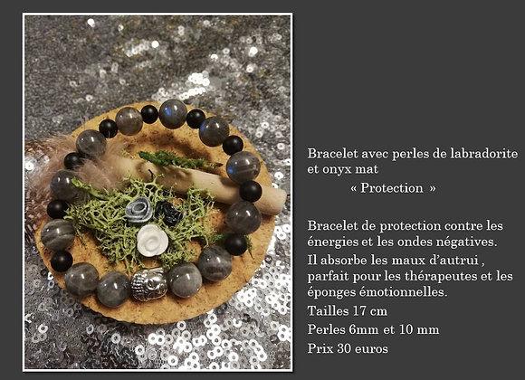 Bracelet Labradorite et onyx mat