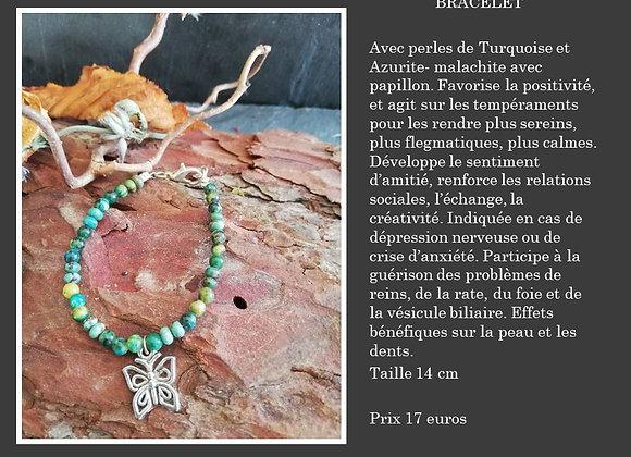 Bracelet Turquoise et Azurite malachite