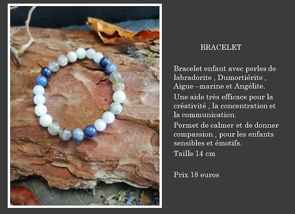 Bracelet Angélite , Dumortiérite , aigue marine et labradorite
