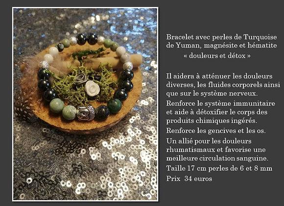 Bracelet turquoise, magnésite et hématite