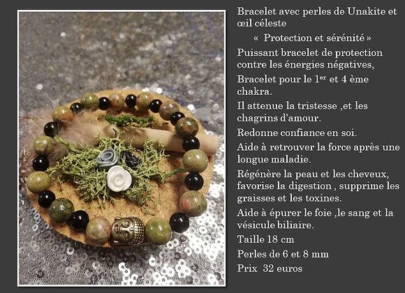 Bracelet Unakite et oeil celeste