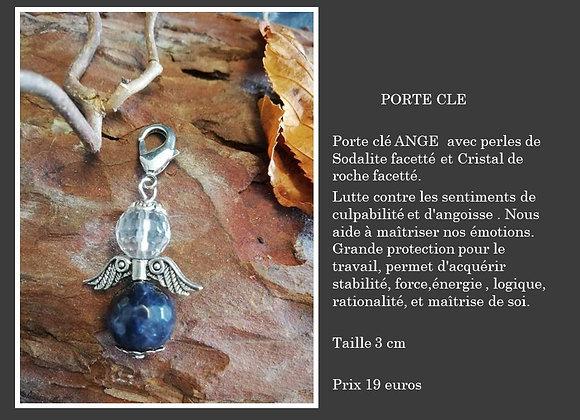 Porte clé Ange sodalite et cristal de roche