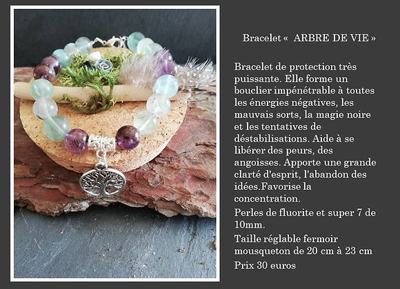 Bracelet arbre de vie fluorite et super 7