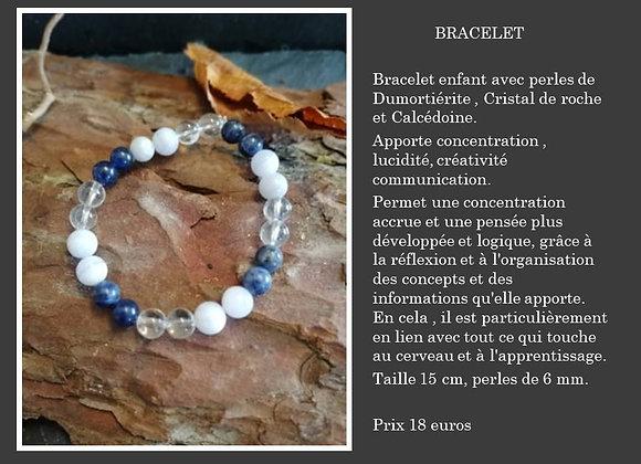 Bracelet Dumortiérite , cristal de roche et calcédoine