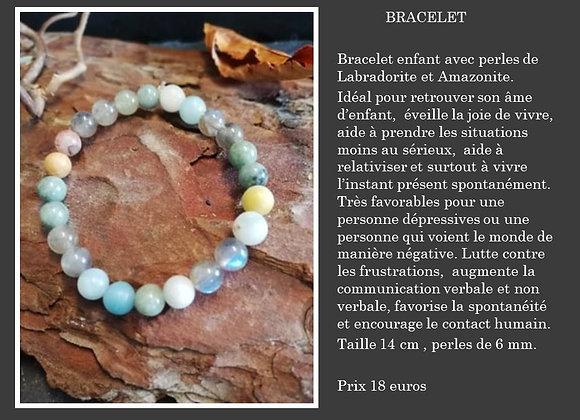 Bracelet Labradorite et Amazonite mix