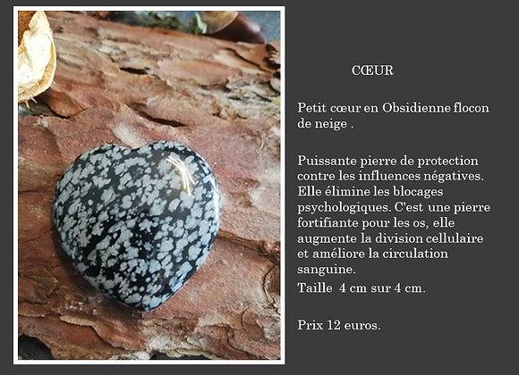 Coeur Obsidienne flocon de neige