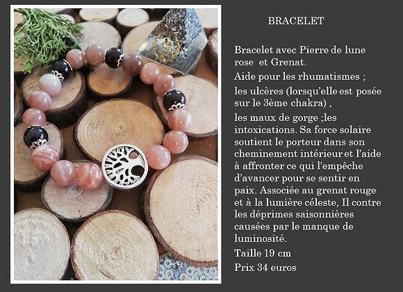 Bracelet pierre de lune et grenat