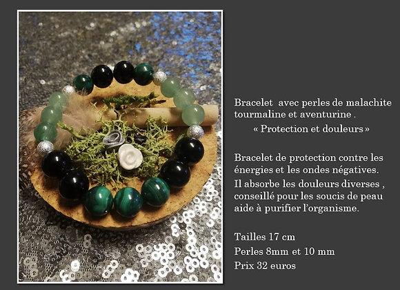 Bracelet malachite, aventurine et tourmaline