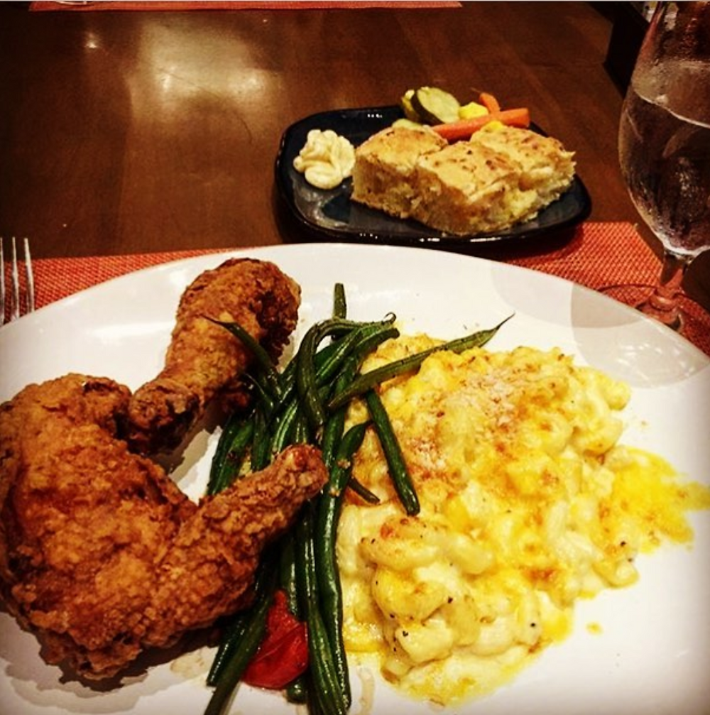 Fried Chicken, string beans, and macaroni and cheese dinner
