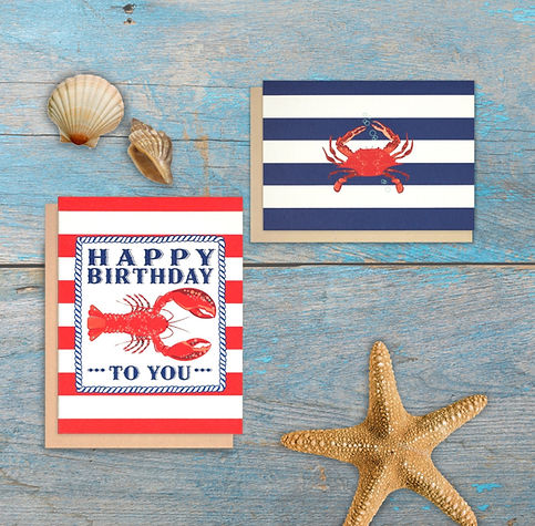 Lobster Birthday Card  Crab notecards Nautical stationery