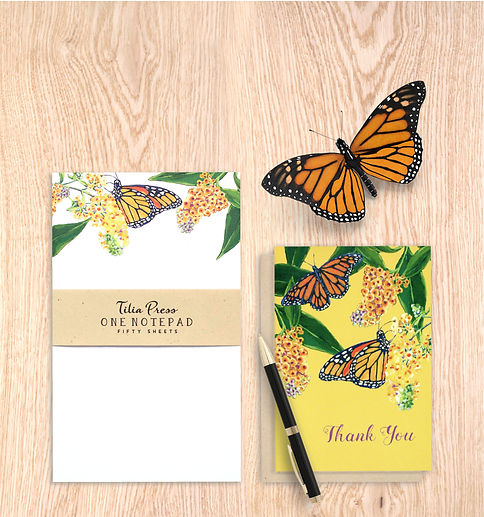 Monarch butterfly notepad and thank you note cards by Tilia Press