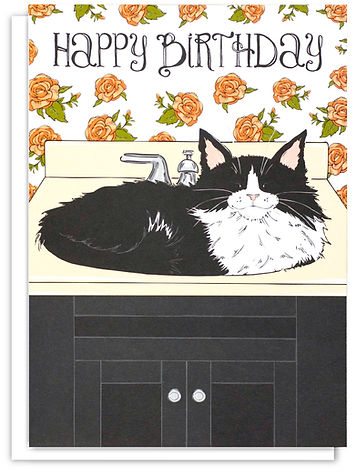 Tuxedo cat birthday card  cat in sink