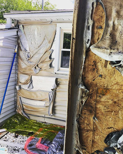 This home sustained significant damage a