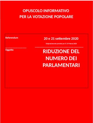 Referendum popolare 20-21 settembre 2020