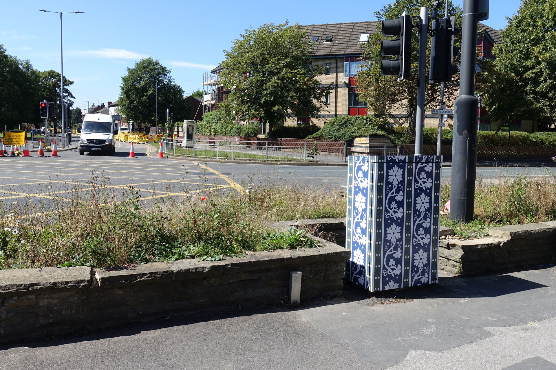 Tile signal control box art on Beverley Road, Hull by Lydia Caprani. Commissioned by Hull City Council. Sculcoates Lane Queens Road Junction.