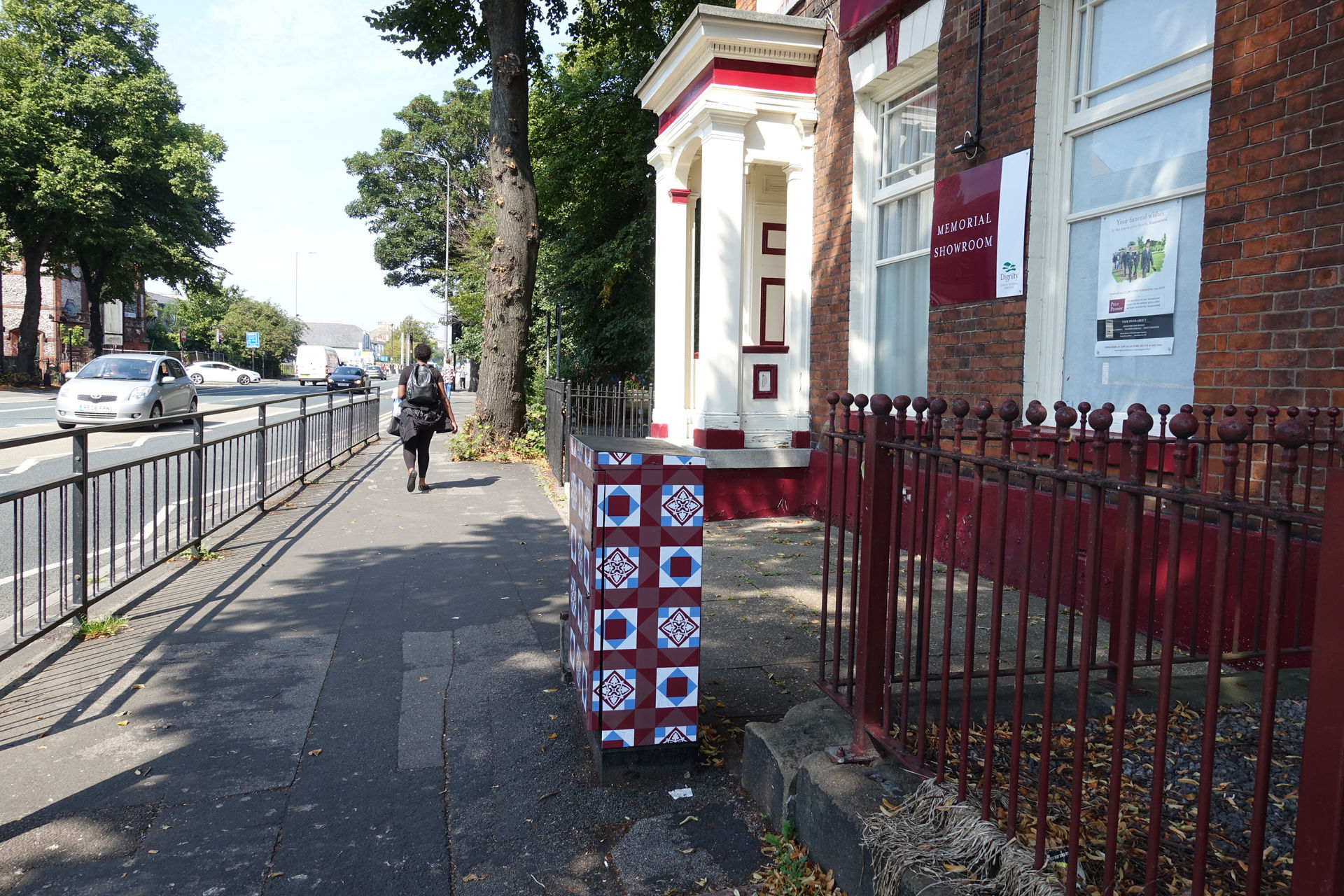 Tile signal control box art on Beverley Road, Hull by Lydia Caprani. Commissioned by Hull City Council.